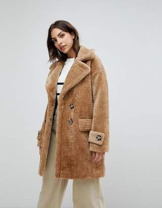 Warehouse Premium Double Breasted Oversized Teddy Fur Coat