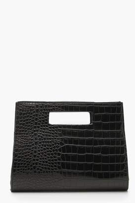 boohoo Croc Structured Handle Clutch Bag