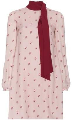 Valentino Silk Rose Print Pussy Bow Dress