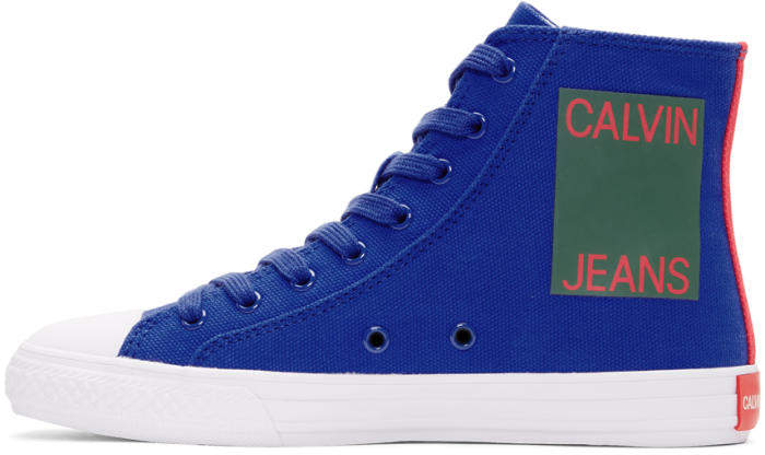 Calvin Klein 205W39NYC Blue Canvas Canter High-Top Sneakers