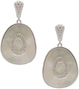Judith Ripka Sterling Mother-of-Pearl Oblong Dangle Earrings