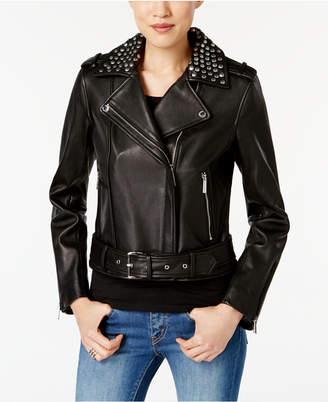 MICHAEL Michael Kors Leather Studded Moto Jacket $480 thestylecure.com