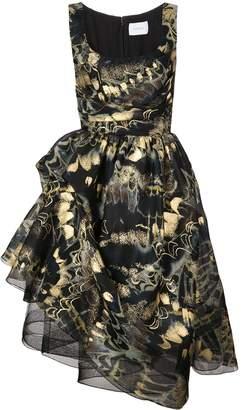 Marchesa asymmetric printed flare dress