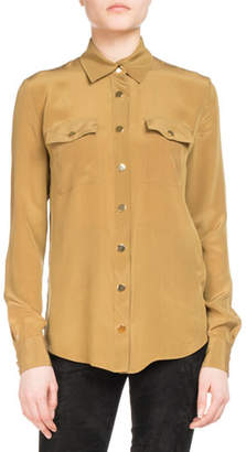Balmain Silk Military Pocket Blouse