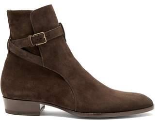 Saint Laurent Signature Wyatt 30 Jodphur Suede Boots - Mens - Dark Brown