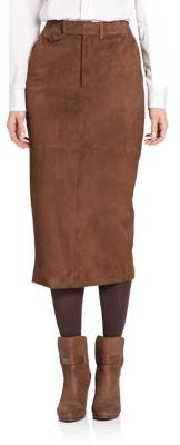 Ralph Lauren Collection Suede Preston Trouser Skirt $2,390 thestylecure.com