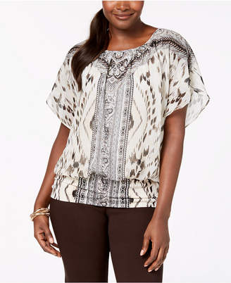 JM Collection Flutter-Sleeve Banded Hem Top