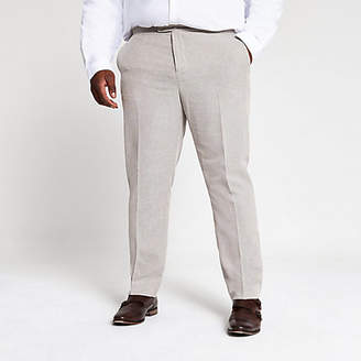 River Island Big and Tall ecru suit trousers