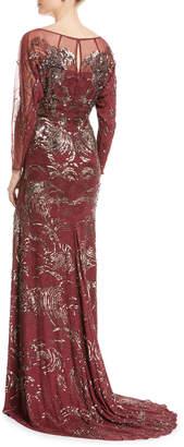 Jenny Packham Long-Sleeve Swirl Sequin Beaded Evening Gown