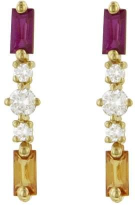 Suzanne Kalan Orange and Pink Sapphire Round Diamond Stud Earrings - Yellow Gold