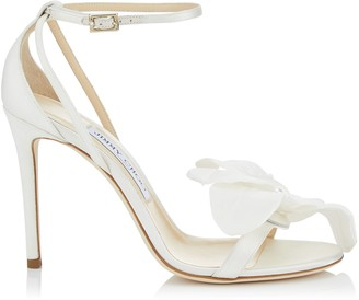 Jimmy Choo AURELIA 100 Ivory Satin Sandals with Orchid