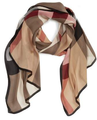 Burberry 'Ultra Mega Check' Washed Mulberry Silk Scarf