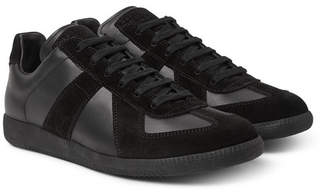 Maison Margiela Replica Leather and Suede Sneakers - Black