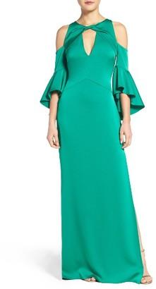 Women's Shoshanna Ruffle Cold Shoulder Crepe Satin Gown $660 thestylecure.com