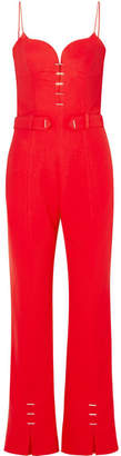 Thierry Mugler Embellished Crepe Jumpsuit - Red