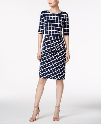 Connected Ruched Printed Sheath Dress $69 thestylecure.com