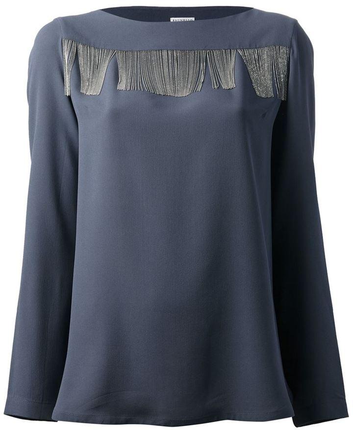 Brunello Cucinelli fringed long sleeve blouse