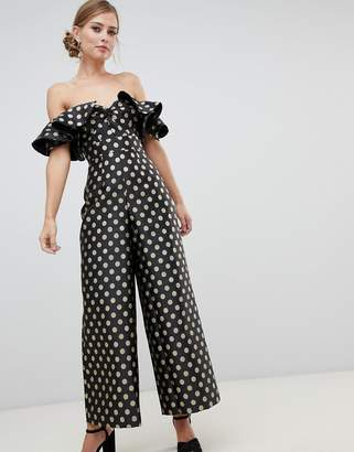 Asos Design DESIGN structured jumpsuit in gold spot print print