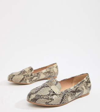 New Look Wide Fit Snake Print Loafers