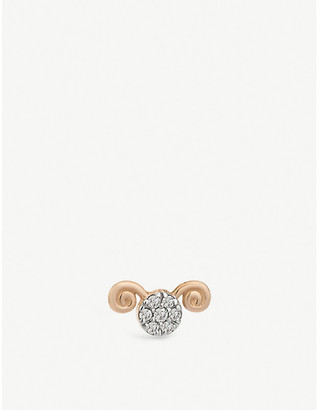 The Alkemistry Kismet By Milka Aries 14ct rose gold stud earring