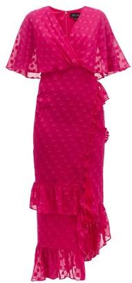 Saloni Rose Ruffled Polka Dot Silk Blend Dress - Womens - Pink