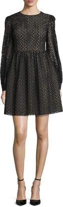 Michael Kors Long-Sleeve Eyelet Mini Dress