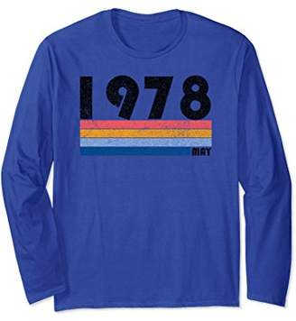 40th Birthday Gift Retro Born May of 1978 Long Sleeve Shirt