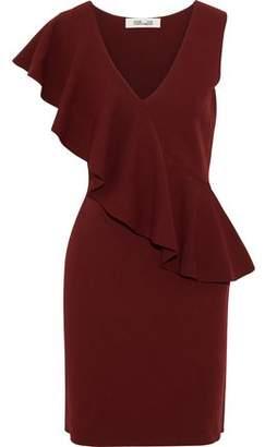 Diane von Furstenberg Ruffled Stretch-Knit Mini Dress