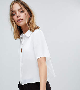 Asos DESIGN Petite crop blouse with short sleeves