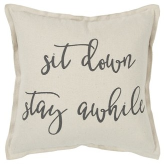 """Rizzy Home Decorative Downfilled Throw Pillow """"Sit Down Stay Awhile"""" 20""""X20"""" Natural"""
