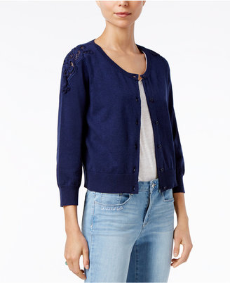 Maison Jules Lace-Trim Cardigan, Only at Macy's $59.50 thestylecure.com