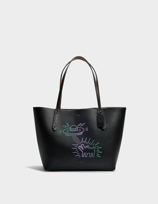 Coach Market Tote Bag in Black Leather