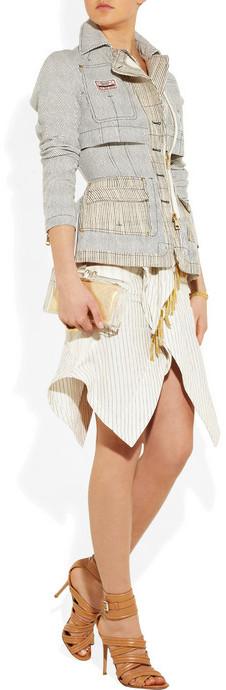 Altuzarra Typhoon fringed pinstripe cotton-blend skirt