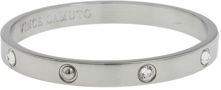 Vince Camuto - Crystal Studded Bangle (Rhodium) - Jewelry