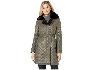 Lauren Ralph Lauren Double Breasted Soft Nylon Trench w/ Faux Fur Collar Women's Coat