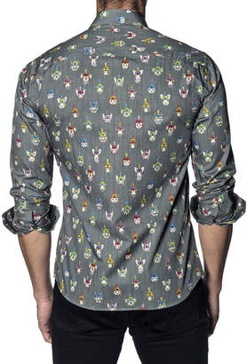 Jared Lang Men's Semi-Fitted Animals Winter Hat Print Sport Shirt