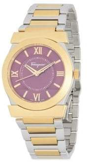 Salvatore Ferragamo Goldtone Stainless Steel Quartz Bracelet Watch