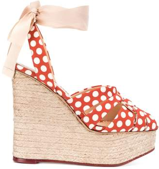 Charlotte Olympia polka dot high heel wedges