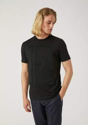 Emporio Armani Cotton Interlock T-Shirt With Embroidered Initials