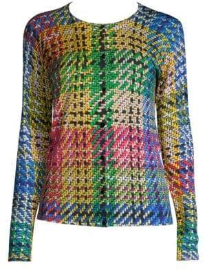 Escada Wool& Silk Knit-Print Cardigan