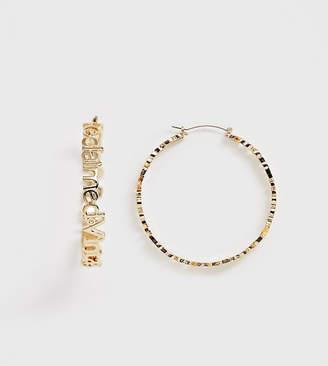 Reclaimed Vintage inspired logo oversize hoop earrings