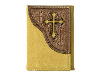 M&F Western Embossed Tab with Cross Trifold Wallet Wallet Handbags