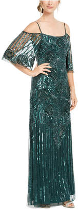 Adrianna Papell Off-Shoulder Beaded Gown