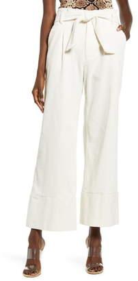 J.o.a. Belted High Waist Wide Leg Corduroy Pants