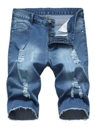 e7cfd2b2 Sarriben Men's Destroyed Ripped Knee Hole Cotton Skinny Denim Jeans Jogger  Pants