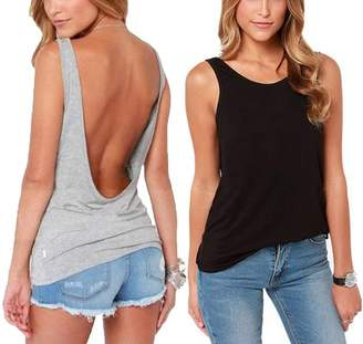 46559077f199a Mippo Women s Loose Open Back Halter Casual Shirt Tee Backless Sexy Cami Tank  Tops