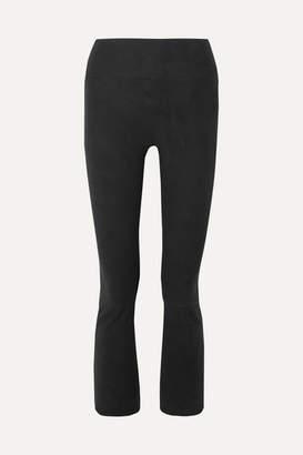Sprwmn Cropped Suede Flared Pants - Black