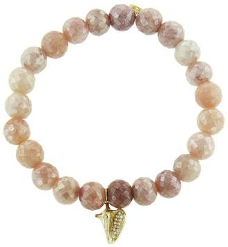 Sydney Evan Conch Shell Charm on Mystic Peach Moonstone Beaded Bracelet