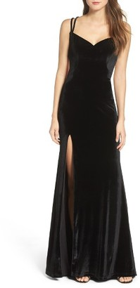 Women's La Femme Backless Velvet Gown $408 thestylecure.com