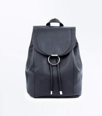 New Look Black Ring Front Backpack
